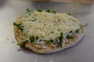 crawfish flatbread with mozzarella and parmesan